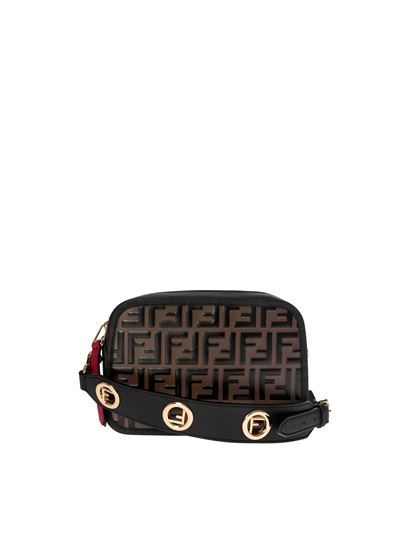 d8ed4d112c Fendi Primavera Estate 2019 borsa camera case in pelle ff nera e ...