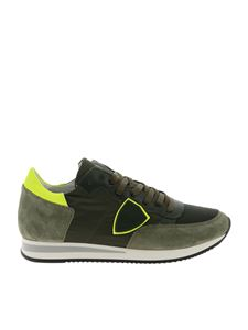 Philippe Model - Tropez L green sneakers with neon yellow detail