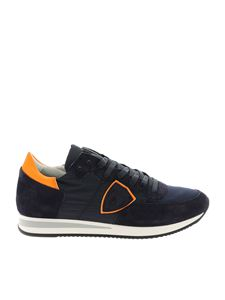 Philippe Model - Tropez L blue sneakers with neon orange detail