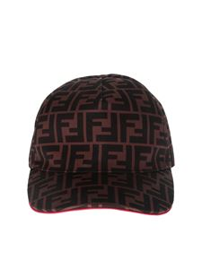 Fendi - Cappello da baseball in canvas marrone FF