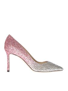 Jimmy Choo - Romy 85 glittered pink and silver pumps
