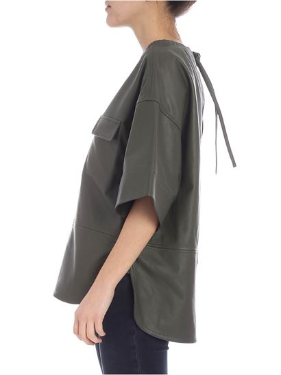 Golden Goose Deluxe Brand - Anne olive green leather blouse
