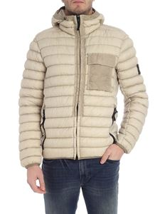 Stone Island - Beige hooded down jacket with logo
