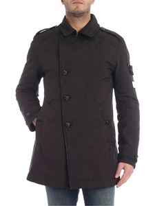 Stone Island - Primaloft black coat with logo