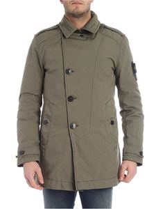 Stone Island - Primaloft green coat with logo