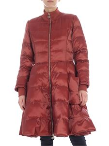 Elisabetta Franchi - Rust red down jacket with logo