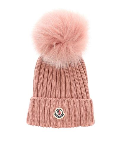 Moncler Fall Winter 18 19 pink beanie with pom pon - 0021900 03510 516 76aafea83fa