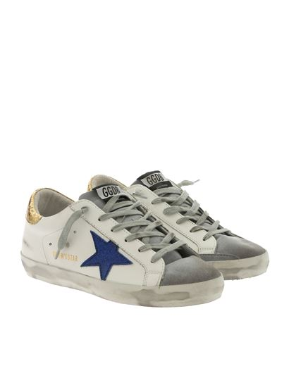 Golden Goose Deluxe Brand - Superstar white sneakers with glittery blue star