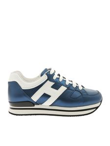 Hogan - H222 white and laminated blue sneakers