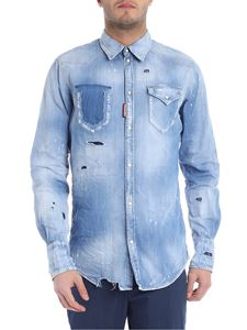Dsquared2 - Destroyed light blue denim shirt