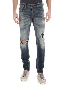 Diesel - Jeans Sleenker blu destroyed