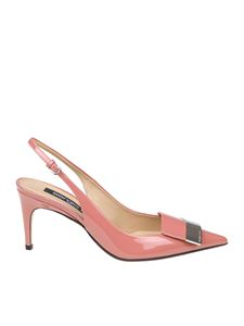 Sergio Rossi - Pink patent leather slingback pumps
