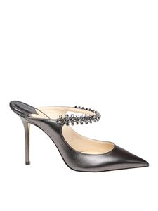 Jimmy Choo - Bing 100 grey mules with crystal strap