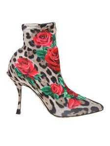 Dolce & Gabbana - D&G animalier ankle boots with roses