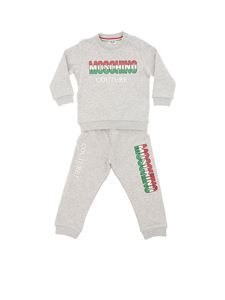 Moschino Kids - Gray tracksuit with tricolor logo