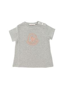 Moncler Jr - Gray t-shirt with pink logo