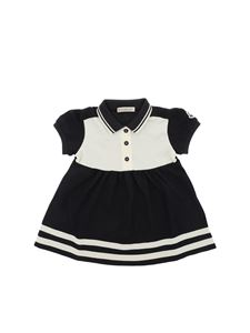 Moncler Jr - Blue and white dress with logo