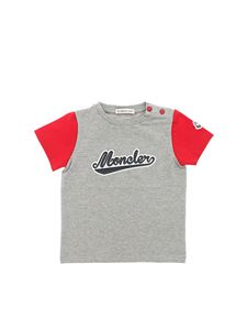 Moncler Jr - Gray t-shirt with red sleeves