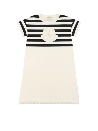 Moncler Jr - White dress with striped top with logo