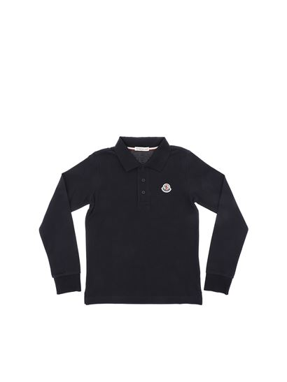106530e31 Moncler Jr Spring Summer 2019 blue long-sleeved polo shirt - 8310850 ...