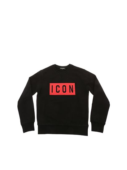 Dsquared2 - Black crewneck sweatshirt with red Icon print