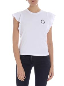 Karl Lagerfeld - Ruffle Sleeve white T-shirt with logo