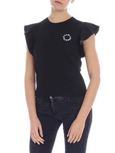 Karl Lagerfeld - Ruffle Sleeve black T-shirt with logo