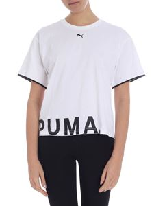 Puma - White boxy t-shirt with logo
