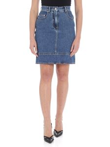 MSGM - Blue denim skirt with logo