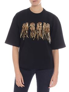 MSGM - Black t-shirt with sequins and golden fringes