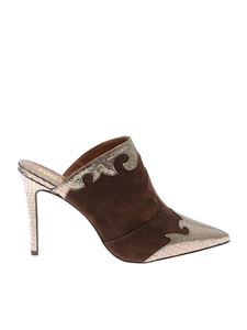 Paris Texas - Brown mules with reptile effect leather details