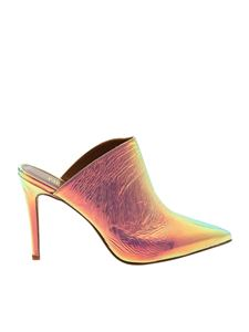 Paris Texas - Iridescent silver pointy mules