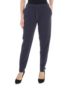 Fabiana Filippi - Blue trousers with silver beads detail