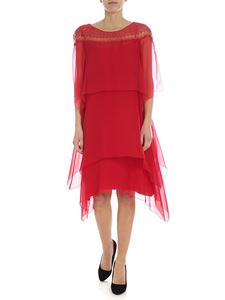 Alberta Ferretti - Red ruffle dress with lace