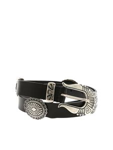 Alberta Ferretti - Black belt with silver metal details