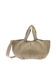 Max Mara - Shopper Frances color tortora in nappa plissettata