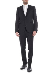 Collection Corneliani - Black single button suit with satin lapels
