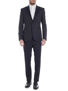 Collection Corneliani - Blue single button suit with satin lapels