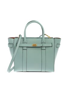 Mulberry - Small Zipped Bayswater bag in light blue leather