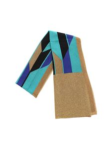M Missoni - Scarf in shades of blue with golden lamé insert