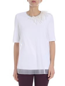 Fabiana Filippi - White t-shirt with micro-beads and feathers