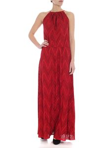 M Missoni - Chevron off-shoulder dress in shades of red