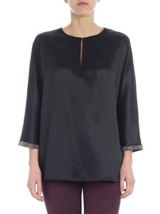 Fabiana Filippi - Black blouse with silver beads on the sleeves