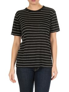 Alexander Wang - Black and grey striped t-shirt with chest pocket
