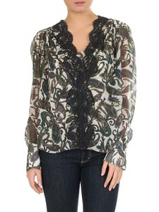 Chloé - Floral blouse in blue silk with lace insert