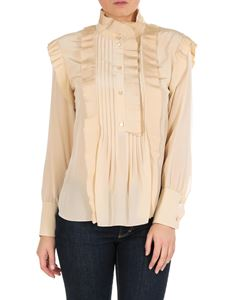 Chloé - Beige silk shirt with pleated inserts