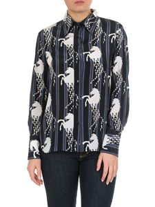 Chloé - Blue shirt with horses and stripes print
