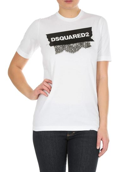 Dsquared2 - White t-shirt with lace and logo