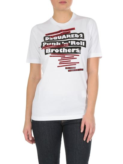 Dsquared2 - White T-shirt with Punk'n Roll print