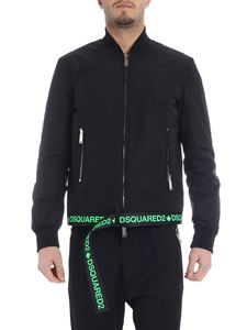 Dsquared2 - Black bomber jacket with neon green logo